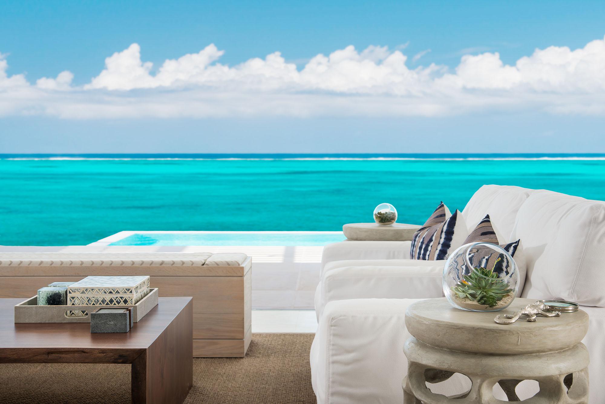 The luxury Caribbean beach villas feature beautiful en-suite bathrooms for all bedrooms.