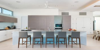 The state of the art kitchen of Beach Enclave North Shore Villa 9, Turks and Caicos Islands.