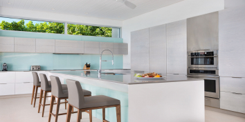The state of the art kitchen of Beach Enclave North Shore Villa 1, Turks and Caicos Islands.