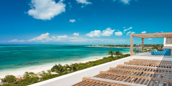 The stunning views from the upstairs bedroom suites of Beach Enclave North Shore Villa 2, Turks and Caicos Islands.