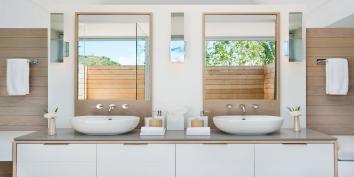 The master bedroom suites have dual vanities at Beach Enclave North Shore Villa 8, Providenciales, Turks and Caicos Islands.