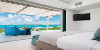 All of the five bedrooms have ocean views at Beach Enclave North Shore Villa 8, Providenciales, Turks and Caicos Islands.