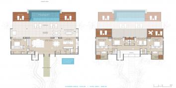 The floorplan of Beach Enclave North Shore Villa 8, Providenciales, Turks and Caicos Islands.
