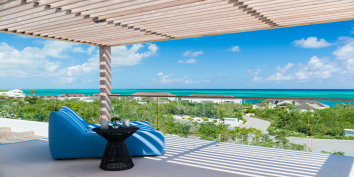 Beach Enclave North Shore Villa 8 has numerous outdoor areas for relaxing while on vacation in the Turks and Caicos Islands.