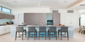 The state of the art kitchen of Beach Enclave North Shore Villa 8, Providenciales, Turks and Caicos Islands.