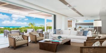 The great room of Beach Enclave North Shore Villa 8, Turks and Caicos Islands.