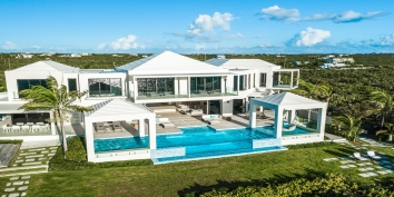 The heated, beachfront, swimming pool of Triton Luxury Villa, Long Bay Beach, Providenciales (Provo), Turks and Caicos Islands, B.W.I.