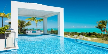 There are two heated, swimming pools and an infinity edge hot tub at Triton Luxury Villa, Long Bay Beach, Providenciales (Provo), Turks and Caicos Islands, B.W.I.