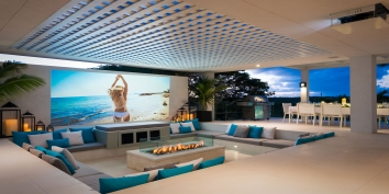 The outdoor movie theatre with firepit at Triton Luxury Villa, Long Bay Beach, Providenciales (Provo), Turks and Caicos Islands, B.W.I.
