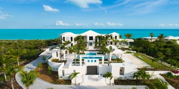 This Turks and Caicos luxury villa rental occupies over 2 acres on Long Bay Beach.