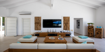 The open plan is living room is very spacious at Azur Dream, Terres Basses, Saint Martin.