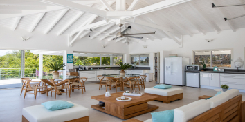 The open plan living, dining and kitchen of Azur Dream, Terres Basses, Saint Martin.