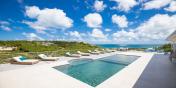 This Caribbean villa rental has a large swimming pool.