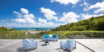 This Caribbean villa rental has a number of decks and terraces.