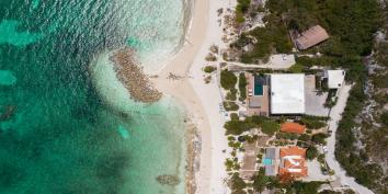 An aerial view of Villa Bella Vita, Babalua Beach, Providenciales (Provo), Turks and Caicos Islands.