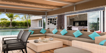Villa Bella Vita also has a shaded, outdoor living and dining area.