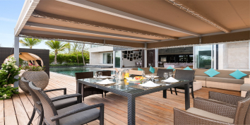 The outdoor dining area of the Turks and Caicos luxury villa rental.