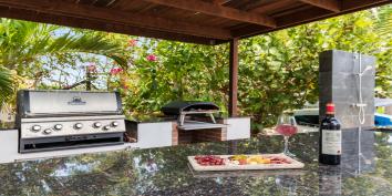 The covered BBQ area of Villa Bella Vita, Turks and Caicos Islands.