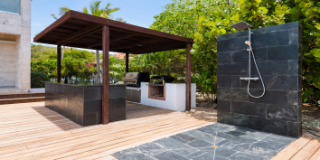 There is a poolside shower at Villa Bella Vita, Babalua Beach, Providenciales (Provo), Turks and Caicos Islands.