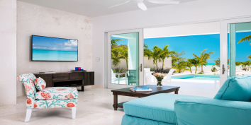 This Turks and Caicos villa rental has an open plan living area on the ground floor.