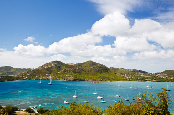 Yachts anchored in prtected English Harbour, Antigua, Eastern Caribbean.