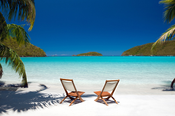 Beach chairs waiting for you on a beautiful, secluded Virgin Islands beach.
