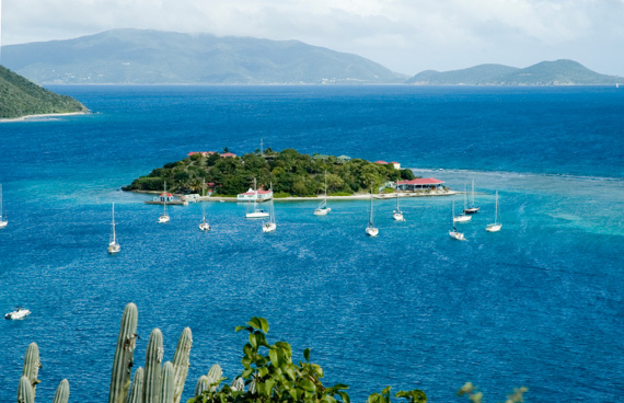 Marina Cay surrounded by yachts in the British Virgin Islands (BVI), Caribbean.