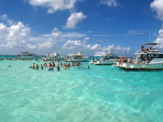 A lot of tourists gathering at Stingray City, Cayman Islands, Caribbean.