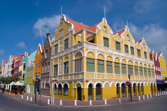 Dutch colonial architecture painted in vibrant Caribbean colours in Willemstad, Curacao, Caribbean.