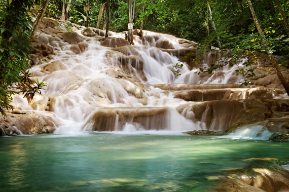 Dunns River Falls an extremely popular attraction on the island of Jamaica in the Caribbean.