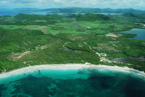 An aerial photograph of the scenic coastline of Martinique with white sand beaches and lush, green, hills.