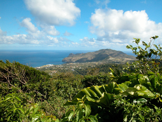 A scenic photo of the green and fertile island of Montserrat in the Caribbean.