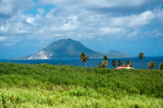A panoramic view of the islands of Nevis taken from St. Kitts in the Caribbean.