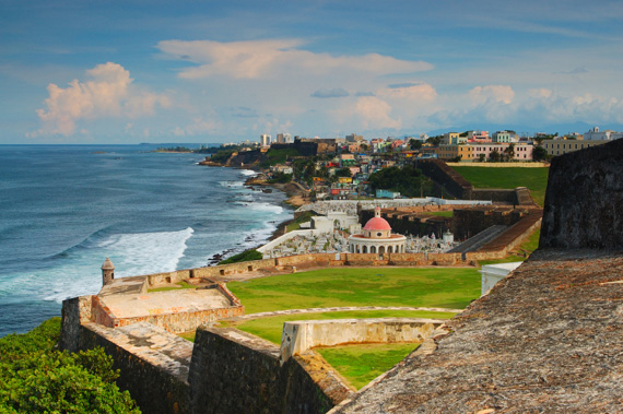 A panoramic view of old San Juan, Puerto Rico, Caribbean.