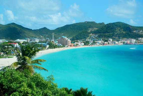 A panoramic view of Philipsburg, the capital of Sint Maarten in the Caribbean.
