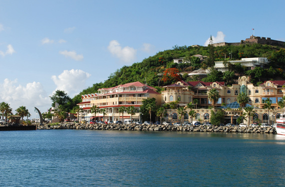 The picturesque harbour of Marigot, the capital of Saint Martin in the Caribbean.