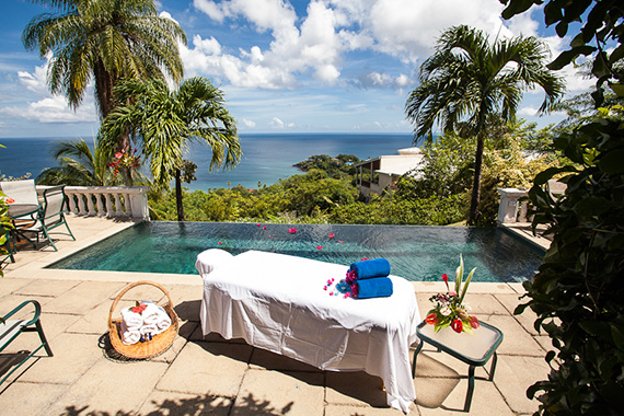 Enjoy a poolside massage at The Villas at Stonehaven, Stonehaven Bay, Tobago.