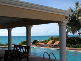 The 42 feet swimming pool of Three Dolphins Villa, Long Bay Beach, Providenciales (Provo), Turks and Caicos Islands