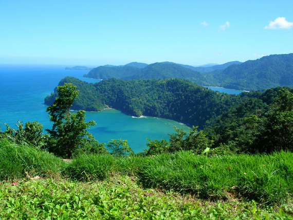 A panoramic view of Maracas Bay on the island of Trinidad, Trinidad and Tobago, Caribbean.