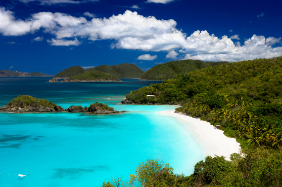 Unbelievably beautiful Trunk Bay on the island of St. John in the United States Virgin Islands, Caribbean.